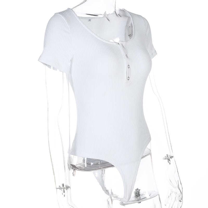 Свитшот, сексуальный черный боди с коротким рукавом, женский комбинезон на пуговицах, короткий белый боди, Mujer 2018, лето-осень, Облегающий комбинезон