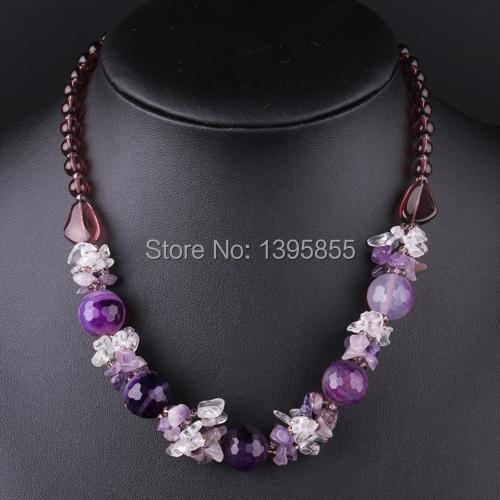 Nueva joyería de moda declaración collar cristalino de piedra natural de envío gratis del grano púrpura