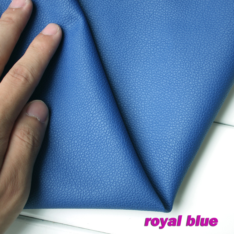 Royal Blue Small Lychee Pu Leather Faux Leather Fabric Pu Artificial
