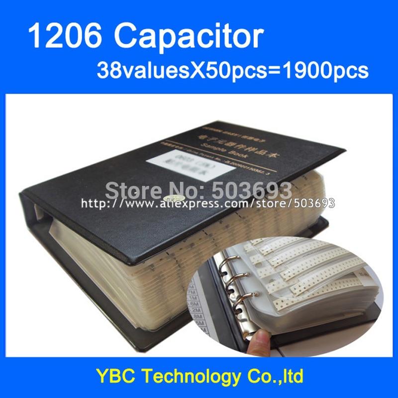 Free Shipping 1206 SMD Capacitor Sample Book 38valuesX50pcs 1900pcs 10PF 22UF Capacitor Assortment Kit Pack