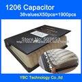 O Envio gratuito de 1206 SMD Livro Da Amostra Capacitor 38valuesX50pcs = 1900 pcs 10PF ~ 22 UF Capacitor Variedade Pack Kit