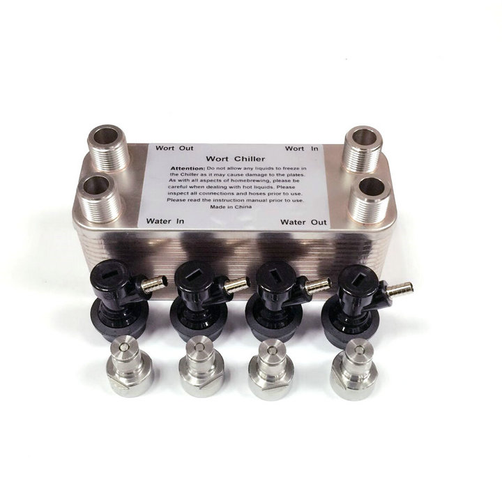 Plate Heat Exchanger Homebrewing Wort Chiller - 30 Plates Brewing Chiller,with 4pcs Ball Lock Disconnect