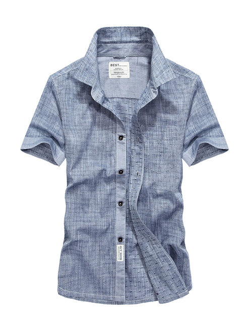 61f45a1bf89 2017 XXXXL Summer Men s Linen Shirts Tops Solid Color Dress Short Sleeve  Shirts Blue Casual Breathable