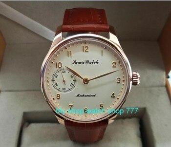 44mm PARNIS Butter yellow dial asian 6497/3600 Mechanical Hand Wind movement men's watch Mechanical watches fei218A Mechanical Watches     -