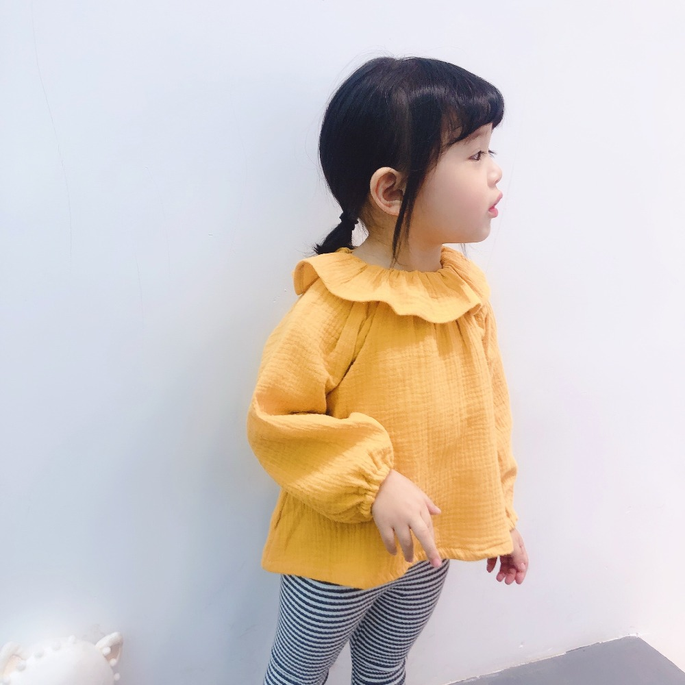 Celveroso Girls Clothing Linen Kids Blouse Solid Cotton Girls Base Shirts Baby Blouse Peter Pan Collar Shirts Cotton for 1 5Y in Blouses Shirts from Mother Kids