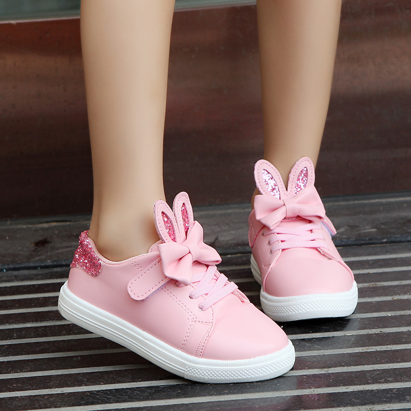 Kids Shoes For Girls Children Sequined Rabbit Ears Shoes Girls Pu Leather Casual Shoes Princess Bow Tie Outdoor Shoes