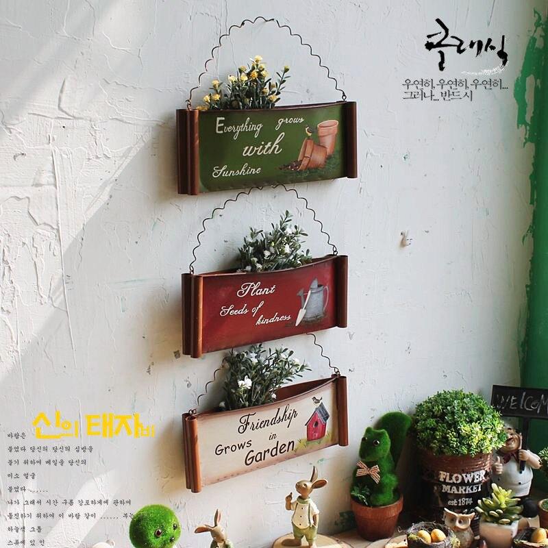 tienda online americana rstico coloreado dibujo hierro hierro maceta para superficie de la pared colgar tambor canasta de de flores
