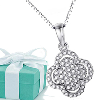 Sterling Silver Jewelry Pendant tif I Love You To The Moon And Back For Women, Joyas De Plata 925 Clover Fashion Christmas Gift