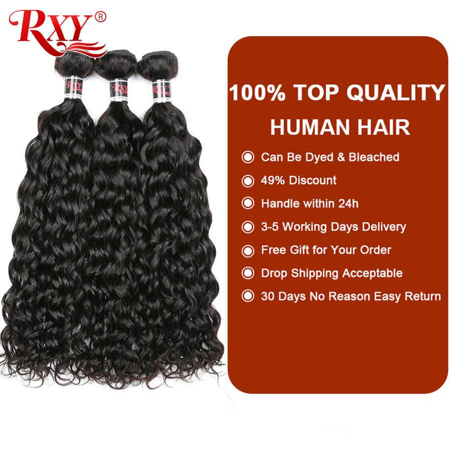 RXY малазийские вьющиеся волосы, пучки воды, волна, человеческие, двойной узел для волос, Remy, человеческие волосы для наращивания 10 ''-28'', могут быть окрашены и отбелены