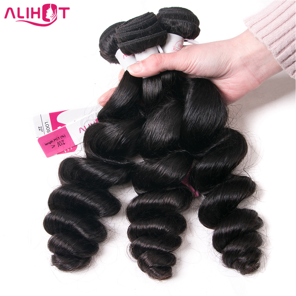 ALI HOT Hair Malaysian Loose Wave Hair 3 Bundles 10-26 Natural Color Human Hair Weave Bundles Double Weft Remy Hair Extension