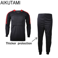 Football Goalkeeper Soccer Uniforms Set Breathable Dry Fit Jersey And Pants With Sponge Mats Protection Football