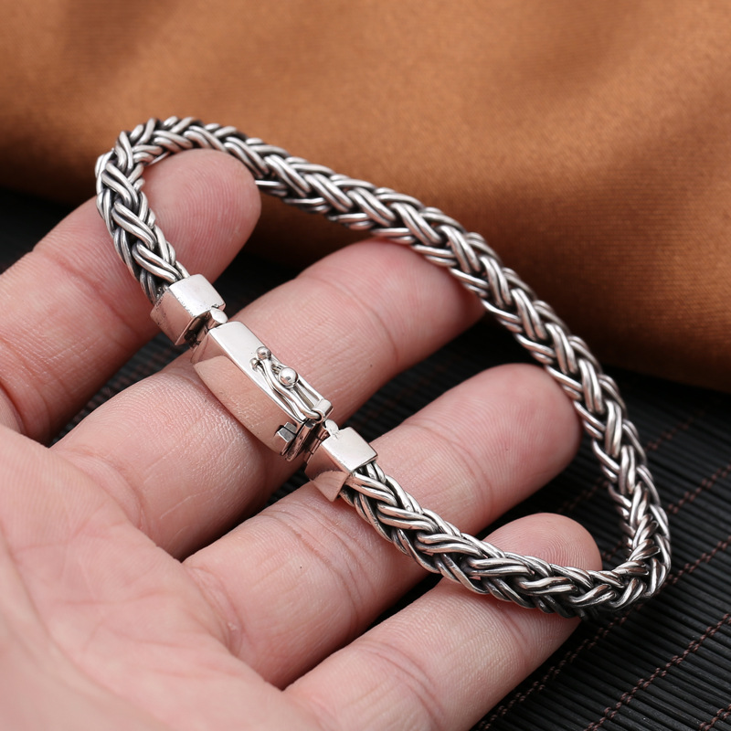 S925 silver jewelry wholesale fashion personality simple men cross woven pattern rectangular buckle bracelet bracelet fashion splash ink pattern adjustable buckle cabbie hat for men
