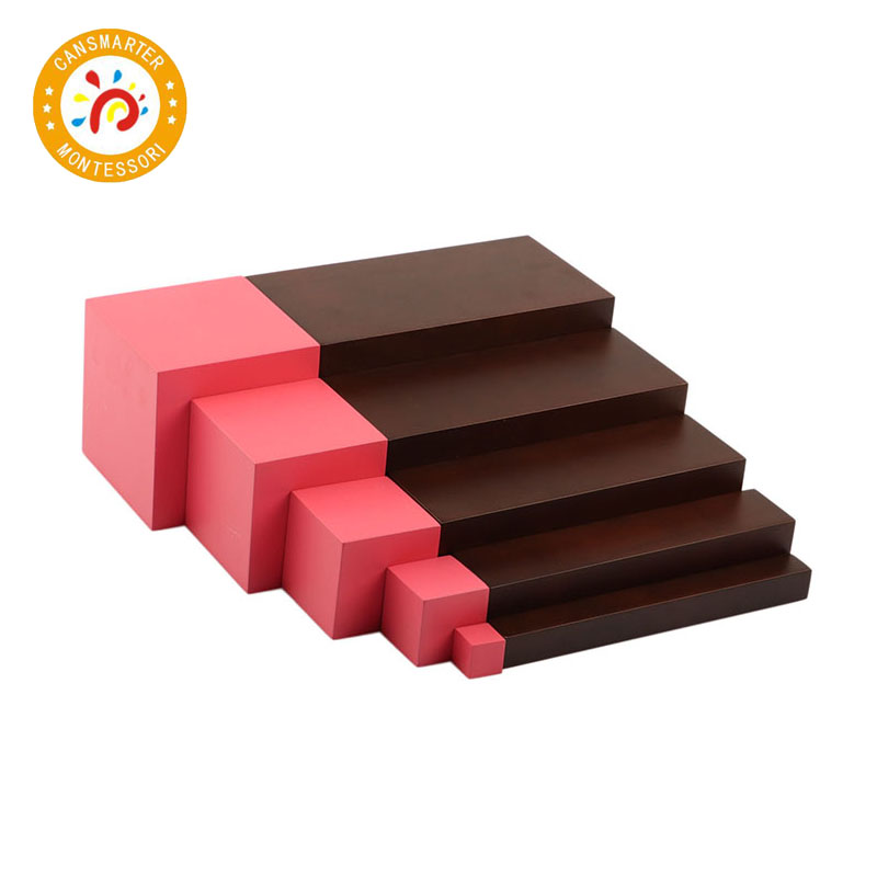 Montessori Materials Baby Toys Brown Stair 5 Steps Preschool Training Kid Toy - 5