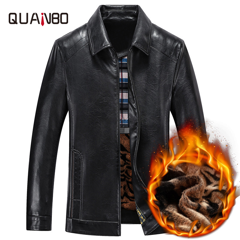 QUANBO 2020 New Autumn Winter  Mens Parka Real Fur Coat Men Sheepskin Real Leather Jacket Business Casual Bomber Leather Jacket