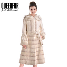 High Quality Natural Rabbit Fur Jacket With Belt Women Real Whole Skin Rex Rabbit Fur Overcoat Hooded Genuine Leather Long Coat