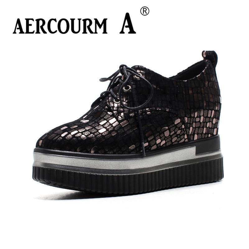 Aercourm a/весна 2018 Для женщин на платформе 8 см Обувь Grils Обувь из овчины женские Повседневное без каблука Пояса из натуральной кожи Обувь каблук... ...