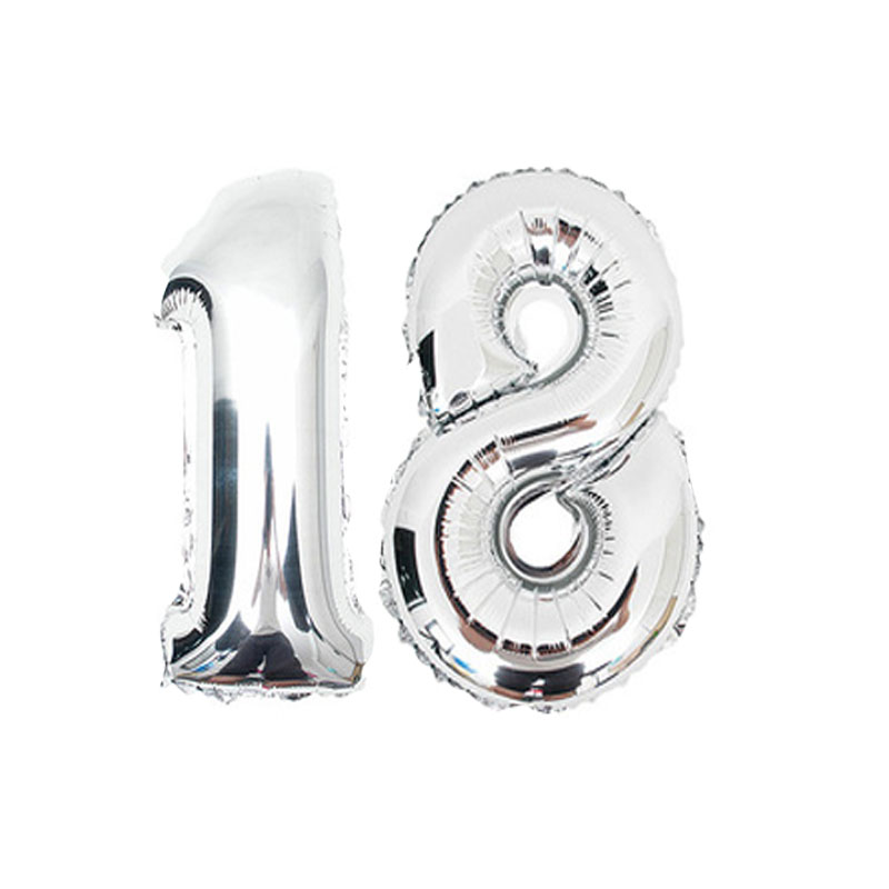 40 Inch Pink Blue Silver 18 Number Foil Balloons 18 Birthday Party