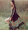 Nuevo Otoño moda Primavera verano gasa de las mujeres rash guards de bohemia más el tamaño de franja de embrodiery blusa blusa larga