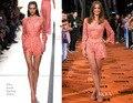 Ph1182 мишель дженнер эли сааб весна 2014 короткий комбинезон вышивка с длинными рукавами женщины летнее платье кружева вечернее платье