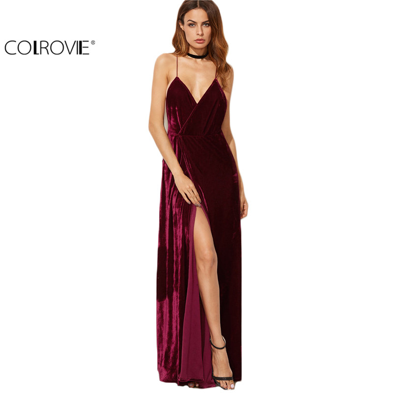 product COLROVIE Womens Summer New Arrival Party Dresses Long Maxi Elegant Dress Burgundy Strappy Backless Velvet Wrap Dress