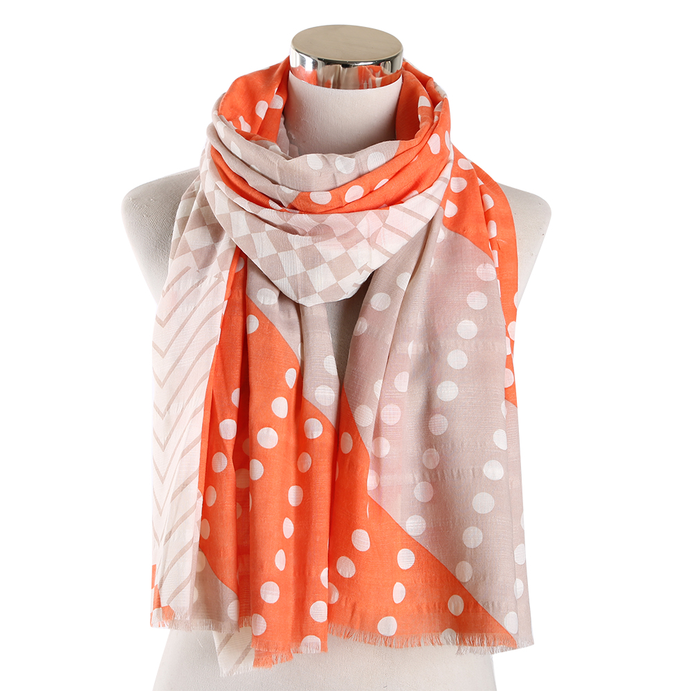 Scarf for Ladies Orange Pink Yellow Polka Dot Scarfs Hijab Shawl Pashmina Oversize Wraps Female Sjaaltjes Foulard Femme in Women 39 s Scarves from Apparel Accessories