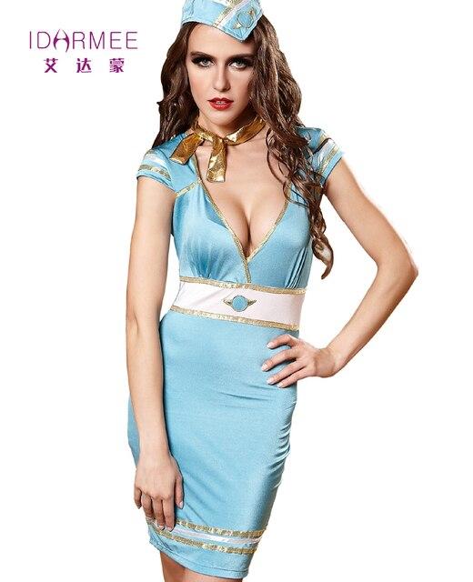 new arrival 19231 e87b8 US $32.46  IDARMEE Vestito Da Estate Profondo Scollo A V Sexy Air Hostess  Costume Outfit Uniformi Stewardess Flight Attendant Costume Clubwear S9103  ...