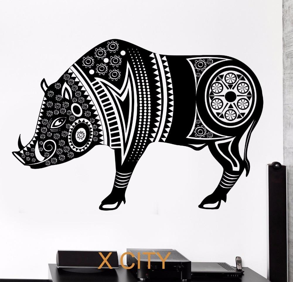 Buy wild boar pig animal tribal ornament for Black wall art