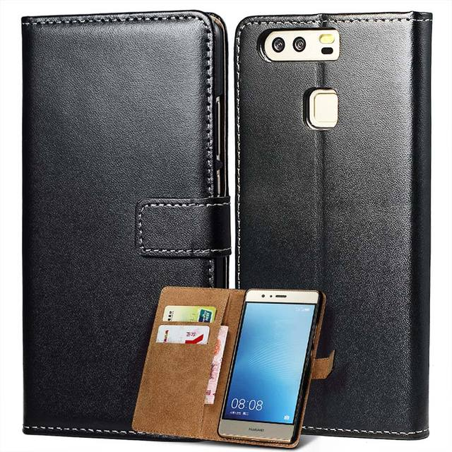 4844153ab71 Flip Wallet Case For Huawei P9 Lite / P9 Coque Luxury Genuine Leather Phone  Bag Cover For Huawei Ascend P9 Lite / P9 Black
