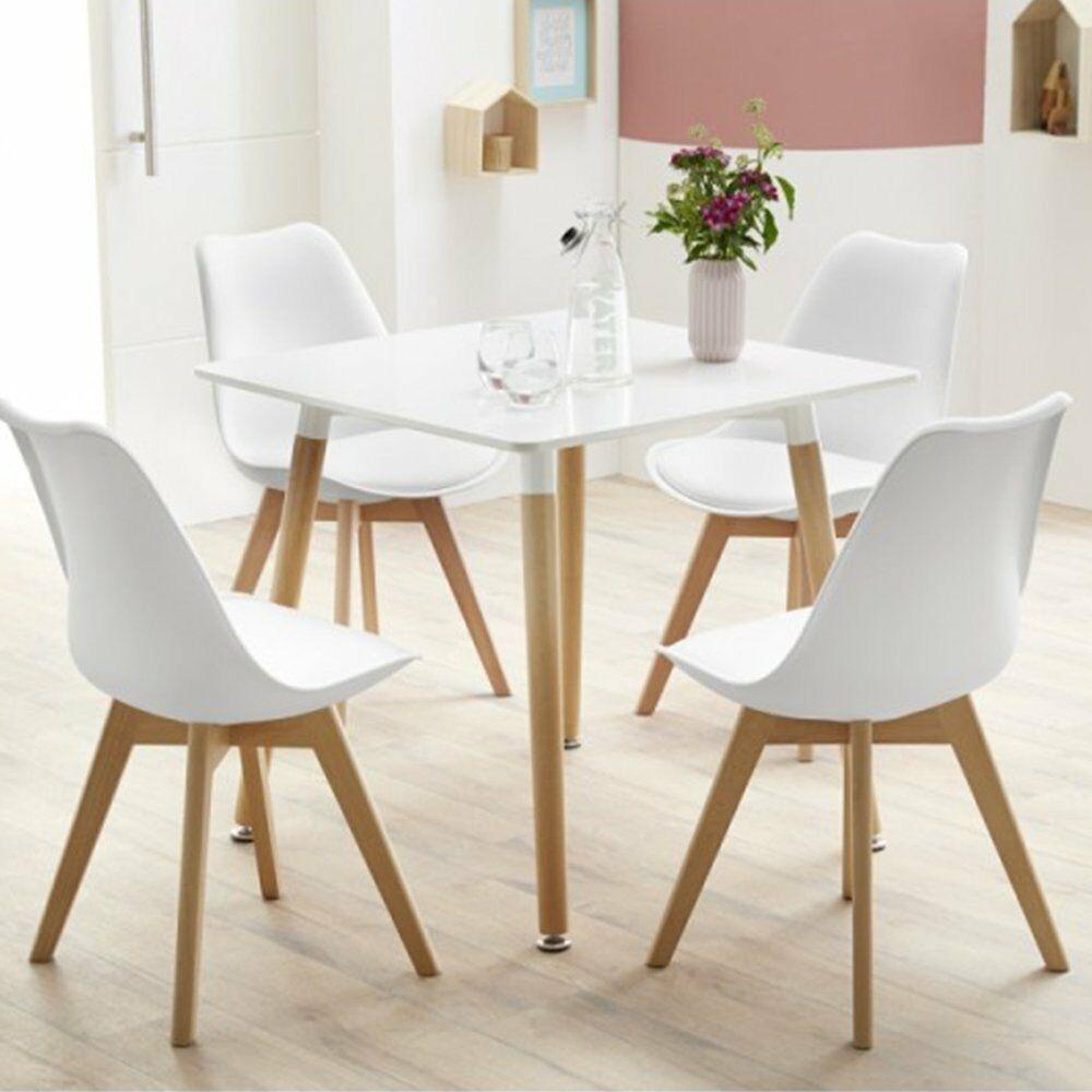 EGGREE lot de 4 chaise de salle à manger/bureau avec pieds en bois massif hêtre loisirs Bar chaise basse Design moderne pour salle de réception blanc - 3