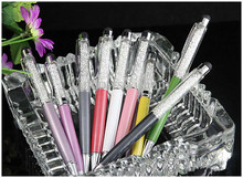 цена на 2 in 1 Capacitive Touch Screen Stylus Ball Point crystal Pen for Touch Screen multi colors