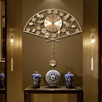 Китайский Стиль металла Винтаж золото вентилятор Форма часы домашнего зал благоприятный украшения Иглы Цифровые кварцевые настенные часы