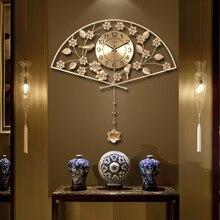Reloj de estilo chino de Metal Vintage dorado con forma de ventilador para sala de casa, aguja de decoración auspiciosa, reloj de pared de cuarzo Digital, regalos de boda