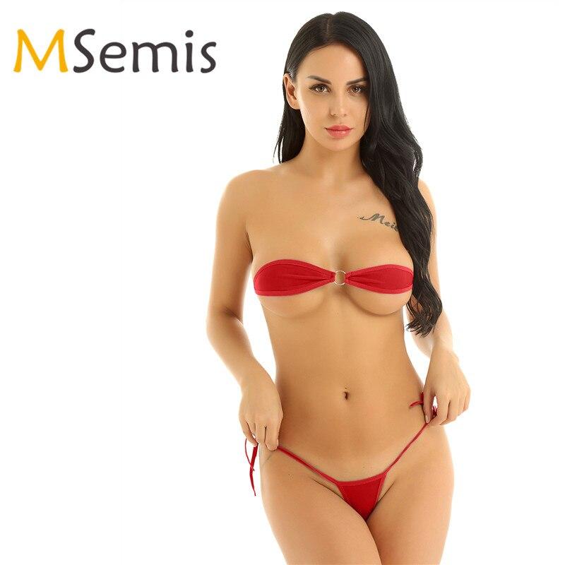 Women's Swimsuit Mini Micro Bikini Set Swimming Suit Minimal Cover Two Piece Swimwear Bra Top With G-String Thong Briefs Underwear