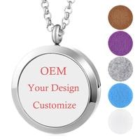 4 Styles/Set OEM Customize Gift 30mm Essential Oil Aroma Diffuser Perfume Locket 316L Stainless Steel Magnetic Locket Set VA 716