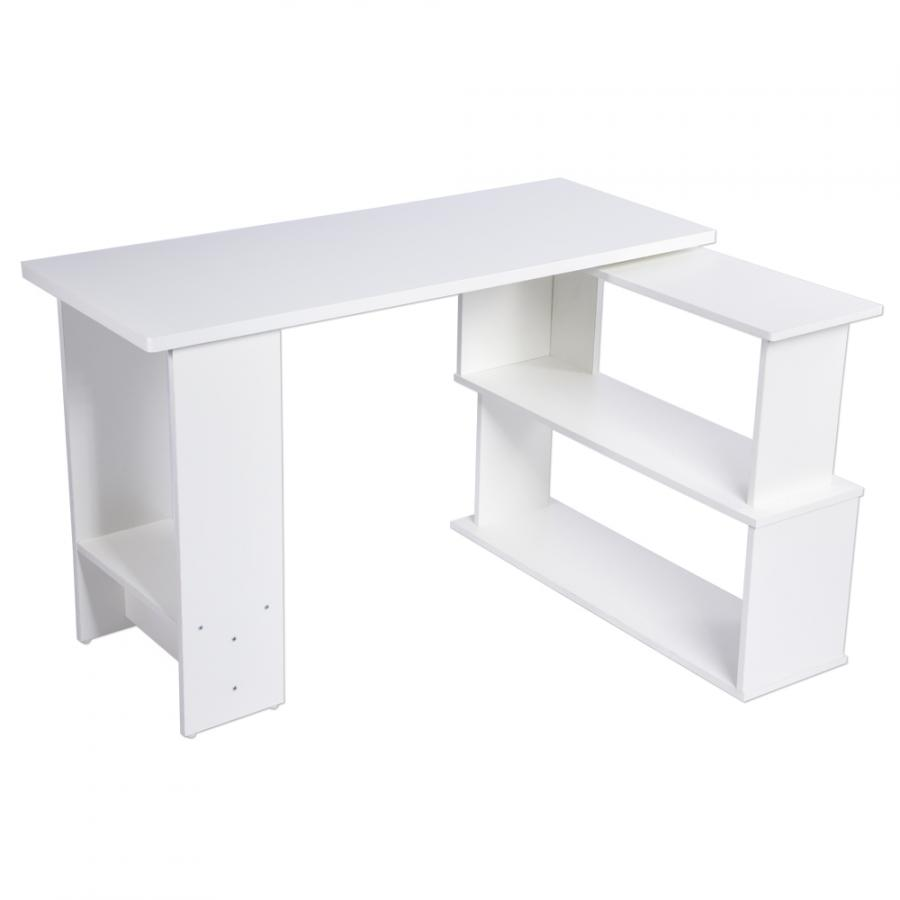 L-Shape PC Laptop Table Folding Corner Computer Desk for Home Office Study Writing White Local fast delivery