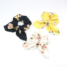Fashion Printed Bow Fabric Scrunchie Hair Ring For Women Girls Elastic Hair Rubber Bands Accessories Head Rope Hair Ornament fashion women hair accessories headwear girls ornament rubber elastic hair bands double round circle metal hart hairbands