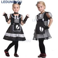Children Black White Maid Cosplay Costume Girls Apron Dress Kids Halloween Party Clothes