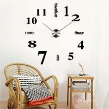 2016 hot sale home decoration 3d mirror clocks fashion personality diy Circular living room big wall clock watch free shipping