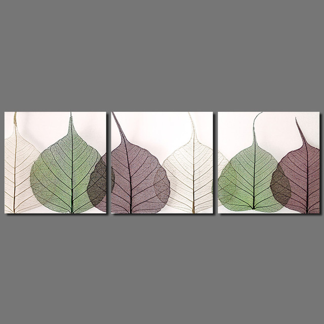 Modern 3pcs green leaves decoration colors plants white purple leaf Canvas Painting wall Art living room & Modern 3pcs green leaves decoration colors plants white purple leaf ...