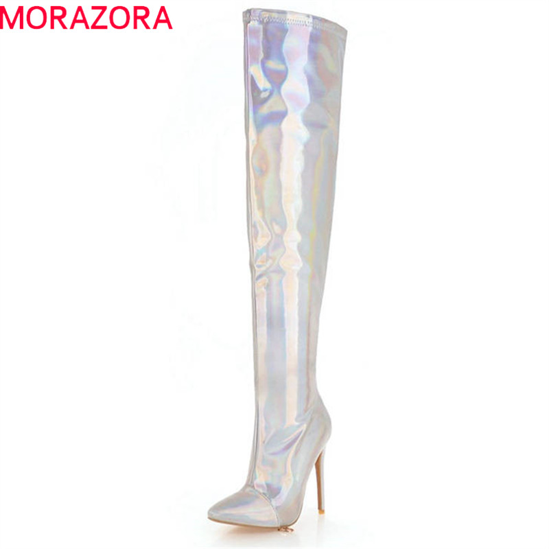 MORAZORA 2018 new fashion thigh high over the knee boots women high quality pu autumn winter boots sexy thin high heels shoes купить недорого в Москве