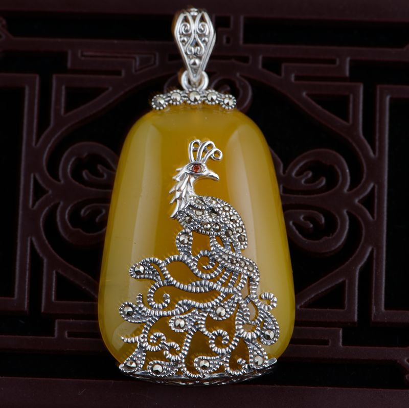 Thai silver wholesale S925 silver inlaid natural Pendant cord Marcasite peacock other early adopters of new