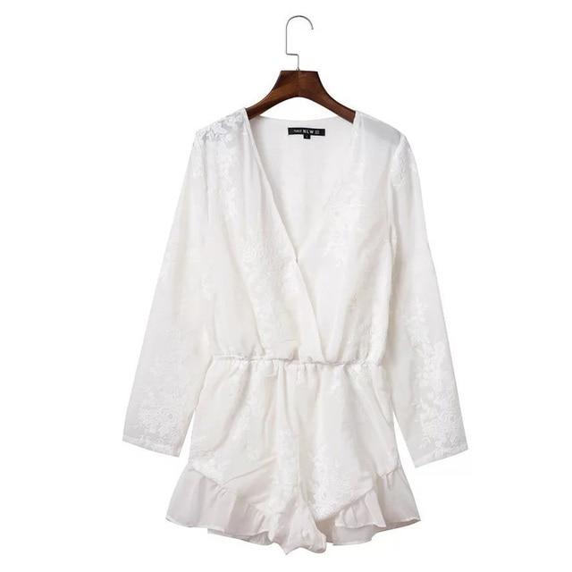 7f37c790c83d Sexy Cross Deep V-Neck Floral Embroidery Slim Jumpsuit Women Dobby Flower  Long Sleeve Short Pants Romper Overalls White femme