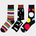 Senhores algodão meias dos homens de negócios de lazer da moda colorido jacquard acolchoado line cor hit happy socks