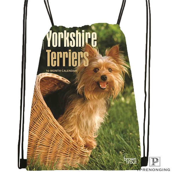 Custom Yorkshire-Terrier-Drawstring Backpack Bag Cute Daypack Kids Satchel (Black Back) 31x40cm#180611-03-115