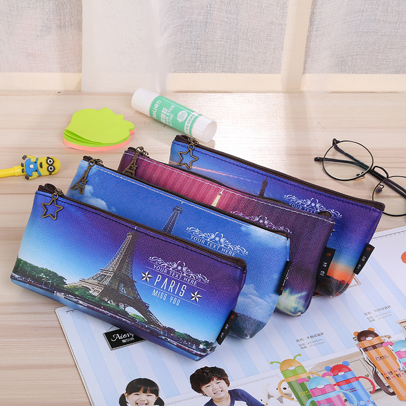 100pcs Paris Tower Pencil Case Kawaii School Supplies Stationery Waterproof PU Leather Pen Bag For Girls Boys Pencil Box Gift
