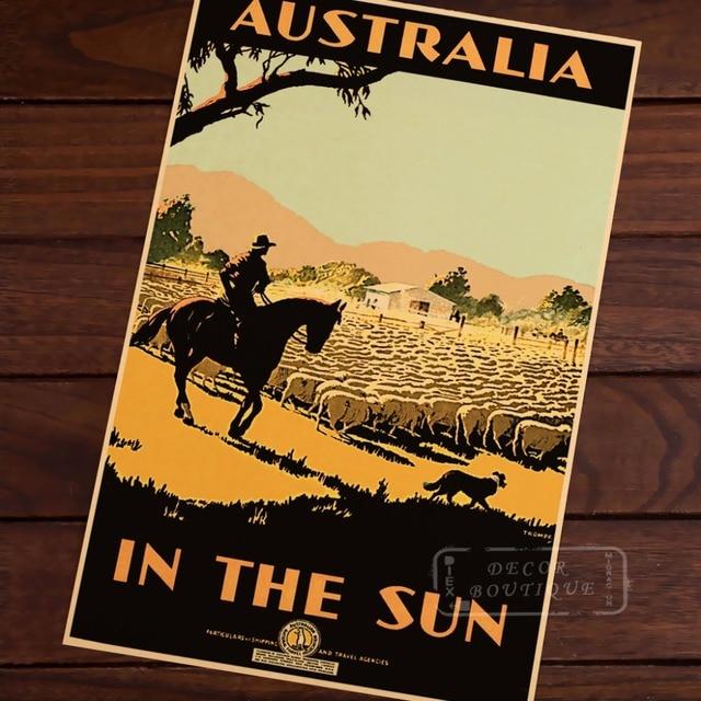 Australia in the Sun Map Vintage Travel Poster Classic Retro Kraft ...
