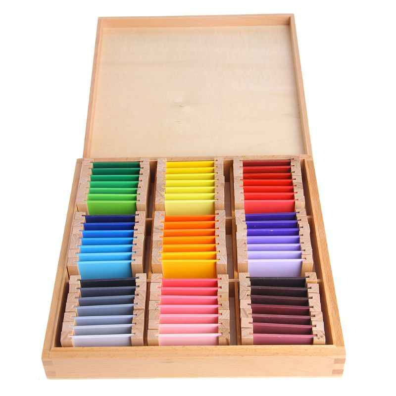 Montessori Sensorial Material Learning Color Tablet Box Wood Preschool Toy Y51E
