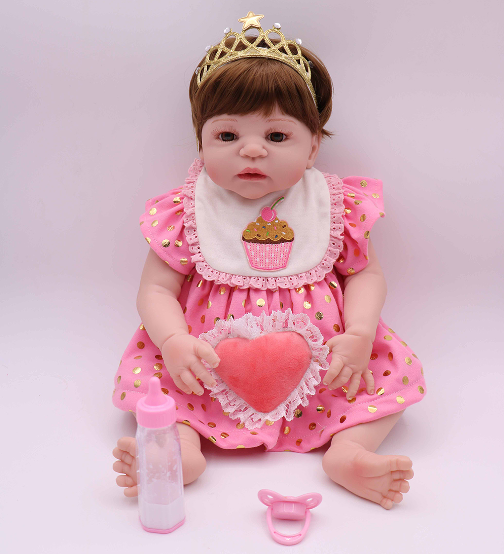 100% Handmade Pretty in Pink Anatomically Correct Body Silicone Reborn Baby Girl Doll Toys for Children Girl Boy Bedtime Play