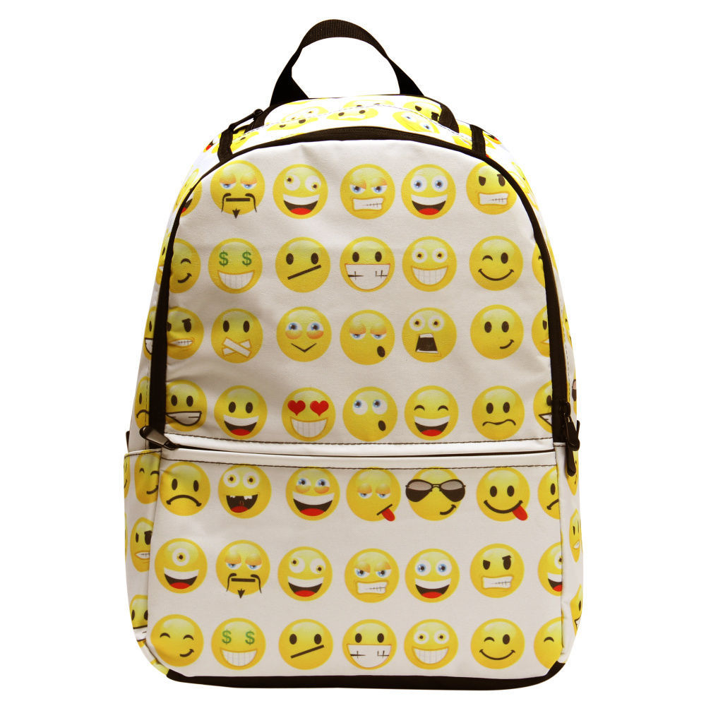 Childrens Backpack School Bags Boys Girls Smile Emoji Shoulder Bookbag Rucksack