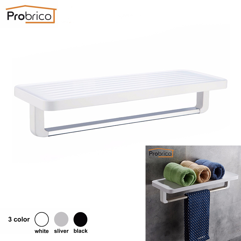 Probrico Black/White/Sliver Bathroom Shelf With Towel Rail 2-Tier Towel Rack Holder Wall Mounted Organizer Storage Rack free shipping single tier bathroom aluminium shelf with towel bar rack wall mounted kitchen storage organizer shelves 50 12 12cm